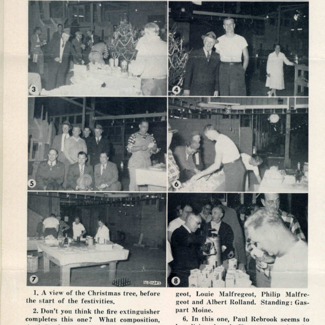 1955 Rolland Christmas party with company personnel and glass cutters.