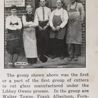 Glass cutters at the new Libbey Owens plant in Toledo in 1916.