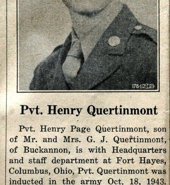 Henrty Page Quertinmont in Feb. 1944,  Also apprentice at Libbey Owens Charleston.
