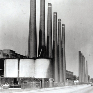 The many stacks of the Libbey Owens represented the many glass melting tanks.
