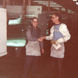 Dad Frank and Charlie Summers.  Rolland evening shift 1975.