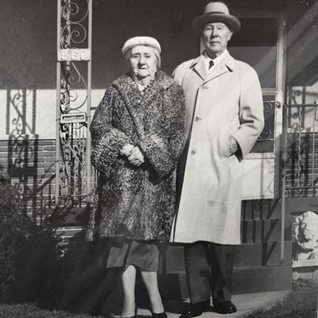 John Scohy and wife, owner of Scohy Window Glass in Sistersville WV.  Scohy closed around 1938.  Zabeau collection.