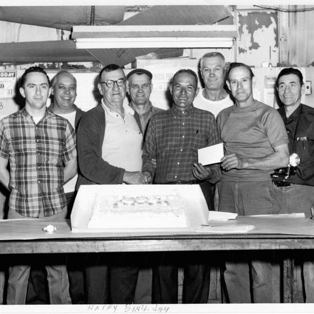 1968 birthday or retirement celebration at Adamston or Rolland Glass.