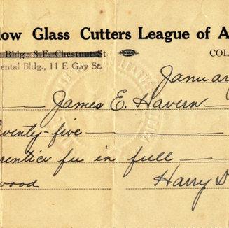 Jim Havern's apprenticeship fee receipt