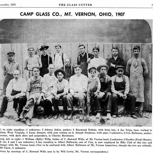 Another early plant in Mt. Vernon was the Camp Glass Co.  It was operating in 1913.