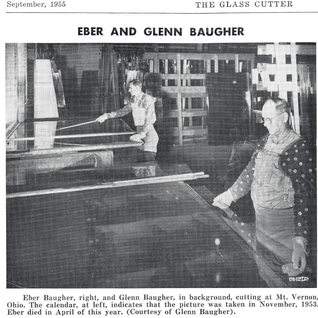 Glass cutters at Mt. Vernon PPG cutting heavy stength glass in 1953.