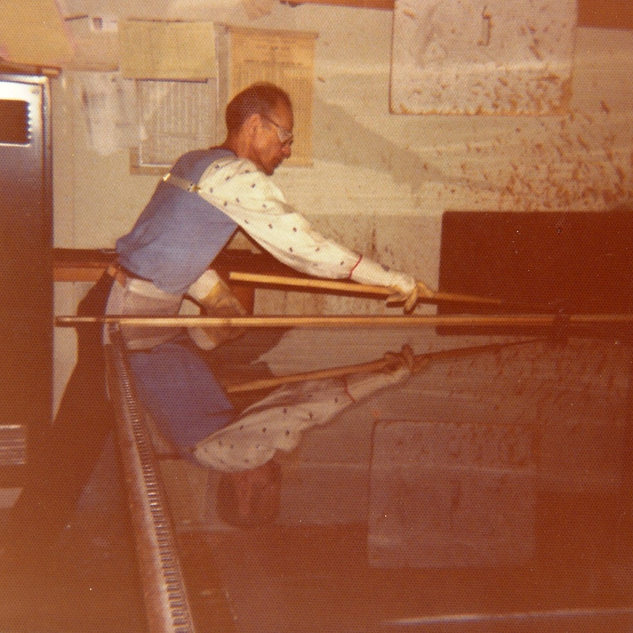 My dad, Frank Duez cutting glass in 1975 at the new cutting room at Rolland.  We Adamston cutters were combined with the Rolland cutters who were on day shift and us on evening when Adamston was shut down for good.