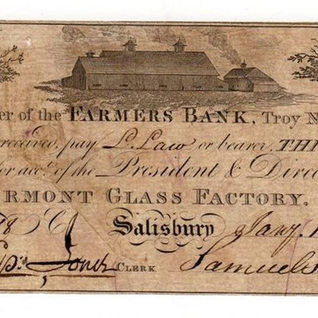 A three dollar note from Salsbury Vermont Glass Factory