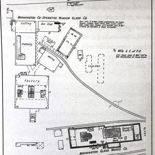 Sanborn fire insurance map of the Mannington co-operative window glass co, 1904.  1901-08