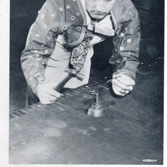 """This posed photo appeared in the """"Glass Cutter"""" monthly in 1948."""