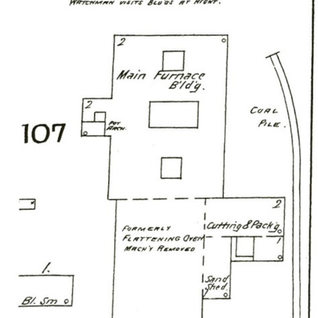 Sanborn map of Central City Window Glass Co. 1893.  Five more Huntington window glass companies are listed.  West Virginia Window Glass 1900, Holton Window Glass 1902-3, Huntington Window Glass 1905, Camp Glass, the largest and longest lasting 1913-20, National Window Glass 1924-27.
