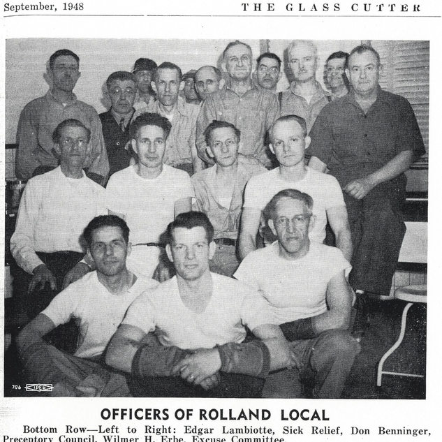 1950 photo of cutters at Rolland Glass