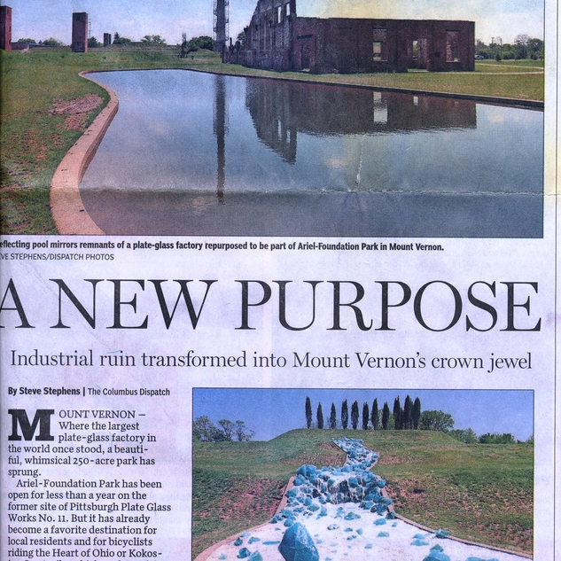 Newspaper report on the new Ariel Foundation park located on the PPG site.