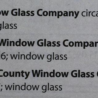 List of window glass plants in West Union, Doddridge County, WV
