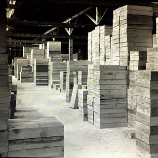 The warehouse where packed boxes of various sizes