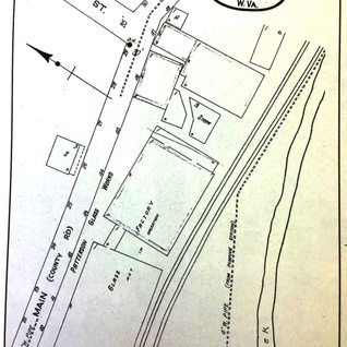 1925 Sanborn map of the Cameron plant.  The plant closed shortly there after.  By 1927 almost all hand blowing plants closed due to the Fourcault machine made glass.  This system eliminated the gatherer, blower and flatener leaving only the glass cutter.  Cameron plant listings are Marshall Window Glass Co.1903, Patterson Glass Manuf. Co. 1915-25, Patterson Window Glass 1901-1915.