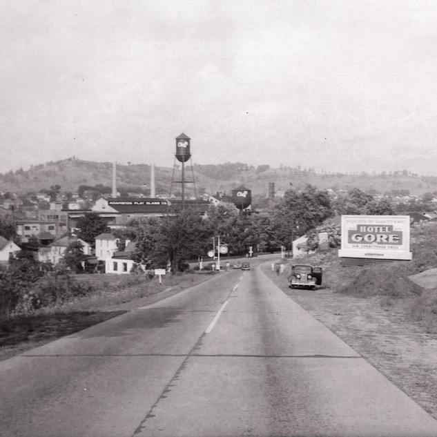 First glimpse of Adamston comming from the west on old Rt. 50 in the 1940's.