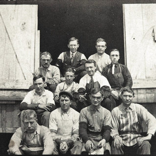 Cutters at the West Fork 1905.  Front: Charles Meyers Sr., John Shaffer, Charles Meyers Jr., Jules Jaumot, boss cutrter. Second position: Paul Schmidt and to his left James Ashely Jr., Remy Delmotte and Rene Delmotte.  In back of Paul Schmidt is Chris Meyer Sr. and in back is James Ashley Sr. and Chris Meyers.