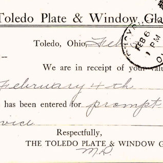 Business transaction for the Toledo Glass Co. in 1913.