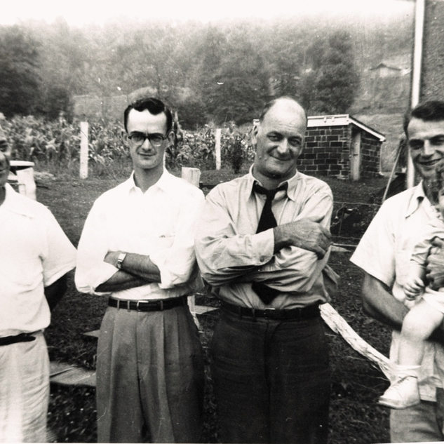 Buchannon, Frog Run WV.  L-R: Uncle Jules Quertinmont who went to  Shreveport and became boss cutter there.  Page Quertinmont, father Gus Quertinmont and Gus Jr.  The two boys became glass cutters and worked at PPG Clarksburg.  Retired in Bridegort WV.
