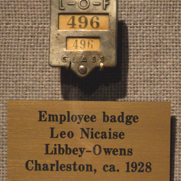 Employee badge at Libbey Owens 1928.  First of Ford involvement.  In 1930 became LibbeY Owens Ford.
