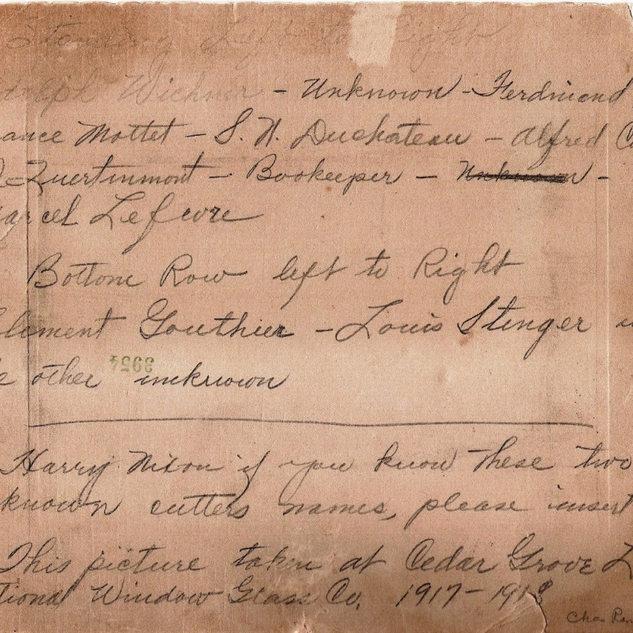 Names for Ceder Grove photo1917-18.