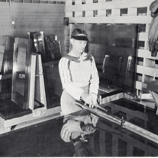Glass cutter at Fort Smith around 1960.