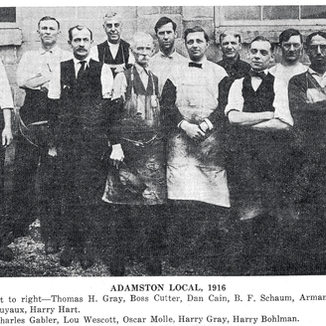 1916 photo of glass cutters at Adamston