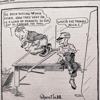 "Cartoon in the ""GlassCutter"" showing squaring up the table"