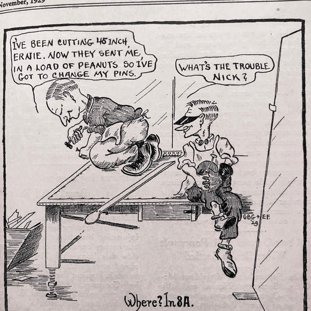 """Cartoon in the """"GlassCutter"""" showing squaring up the table"""