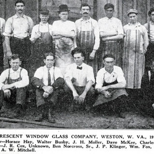 Crescent Window Glass in Weston WV in 1910. Plant opened in 1903.  Jess Klinger in this photo again.  I knew Jess in his later days in Bridgeport.