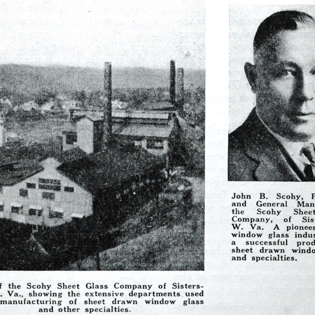 Schoey Glass was the last of the window glass plants in Sistersville.  John once had a plant called the Sun Glass Co. at Matthew, Indiana.  Organized in 1901.  By 1902 it had a 24 pot boiling tank.