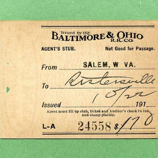 B&O Railroad ticket stub