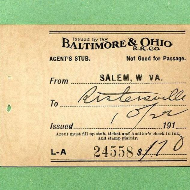 B&O Railroad ticket stub