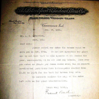 Document from the Blackford at Vincennes in 1921.