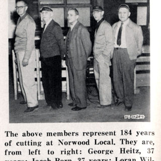 Older cutters at PPG, 184 years of cutting glass.  WVU Library