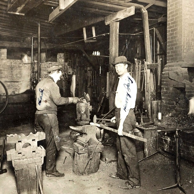 This photo shows blacksmith shop at