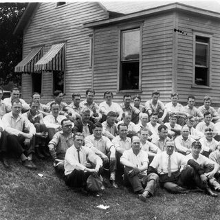 1930 photo of glass cutters at Adamston