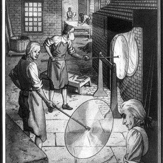 Making crown glass in Boston in 1787.
