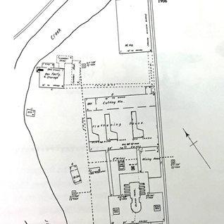 This 1906 Sanborn map shows the Marilla Window plant along Decker Creek, Morgantown. 1902-14.