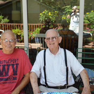 Richard Duez and Joe Powell in Bridgeport 2014.  Joe once a cutter at Rolland and later joined the West Virginia Federation of Labor.