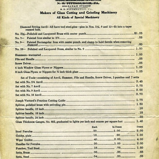 The price list from Krages of Pittsburgh