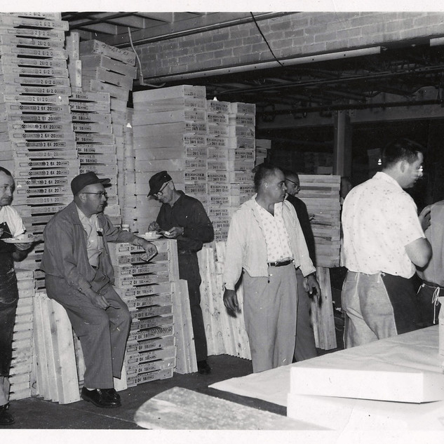 A retirement of the box shop personnel.  Joe Nicewarner is second from left.