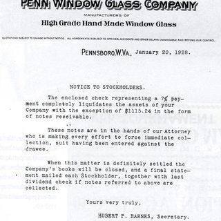 Pennsboro Window Glass notification, 1928.  In its last yea of existance.  By this date most of the hand plants have closed all over the United States dye to the highly improved Fourcault system from Belgium.