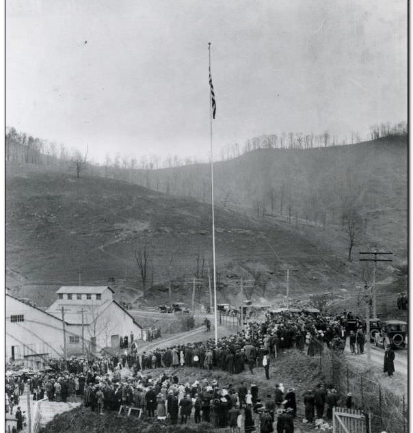 The dedication of the new plant in 1913, rebuilt immediately after the fire.
