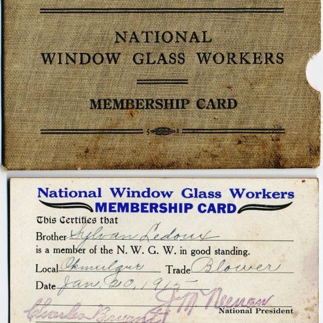 Sylvan Ledoux union membership card.