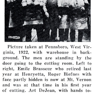 Glass cutters at Pennsboro, Richie County in 1922.