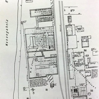 Morgantown WV had two window glass sites and this Sanborn map shows the first, W.R. Jones 1901-14.  It was located along the Monongahela river beside the famous Seneca glass plant.