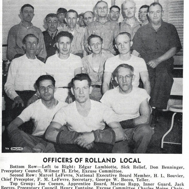 """Members of the  """"Window Glass Cutters League of America"""".  Rolland local officials.  WVU Library"""