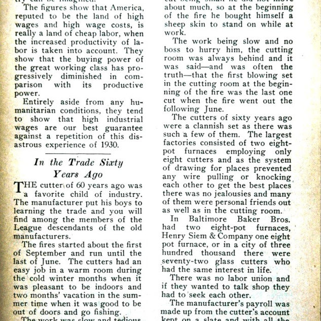In 1931 W.J. Bursall wrote how cutting glass was done